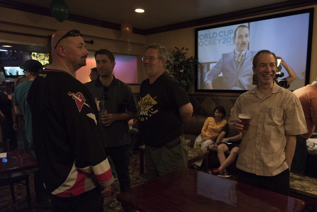 Partiers gather at O'Aces Bar & Grill following a conference in which the NHL's Board of Governors approved an expansion franchise in Las Vegas Wednesday, June 22, 2016. Jason Ogulnik/Las Vega ...