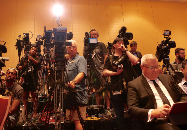 Videographers capture the announcement of hockey coming to Las Vegas at the NHL press conference on June 22, 2016. (Jeff Scheid/Las Vegas Review-Journal)