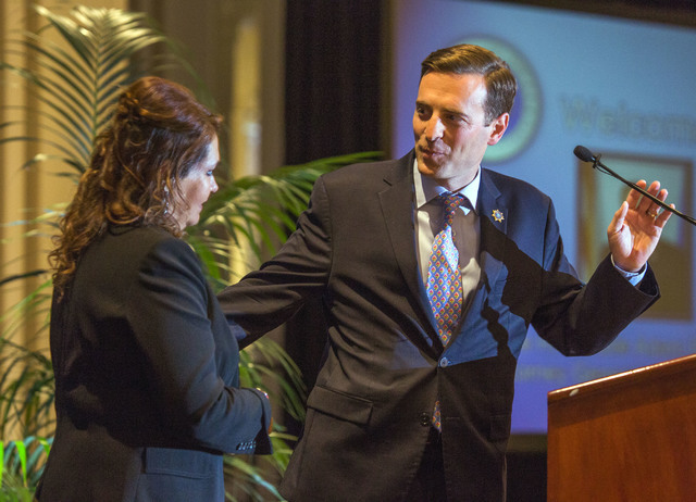 Nevada Attorney General Adam Laxalt, right, introduces home owner Rocio Rubio during the 2016 Southern Nevada Housing Event for Realtors at the Four Seasons, 3960 Las Vegas Blvd., on Friday, June  ...