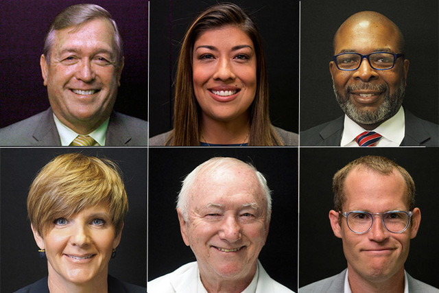 Candidates for the 4th Congressional district, clockwise from top left, Republican Cresent Hardy (incumbent), Democrats Lucy Flores, Rodney Smith, Dan Rolle, Mike Schaefer, Susie Lee.  Not picture ...