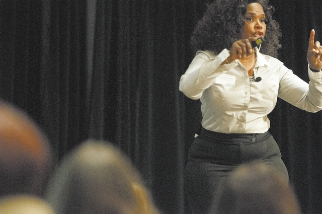 Brenda Myers Powell, founder of The Dreamcatcher Foundation in Chicago, shares her story as a prostitute and ways to get out during the Southern Nevada Trafficking Conference at the Monte Carlo Oc ...