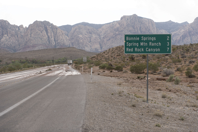State Route 159 just south of Bonnie Springs in Red Rock Canyon National Conservation Area is closed due to a road washout Thursday, June 30, 2016. (Jason Ogulnik/Las Vegas Review-Journal)