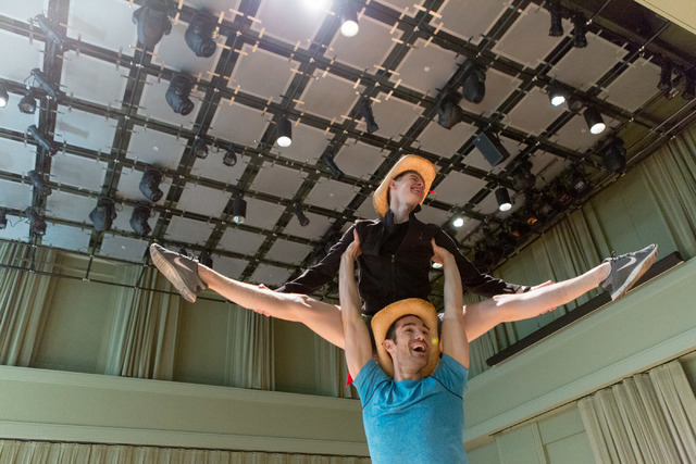 "Alex Puette hoists fellow cast member Connor Russell skyward during a dance routine from ""Idaho! The Comedy Musical,"" which opens a 13-performance run Wednesday in The Smith Center's Reynolds Hall ..."