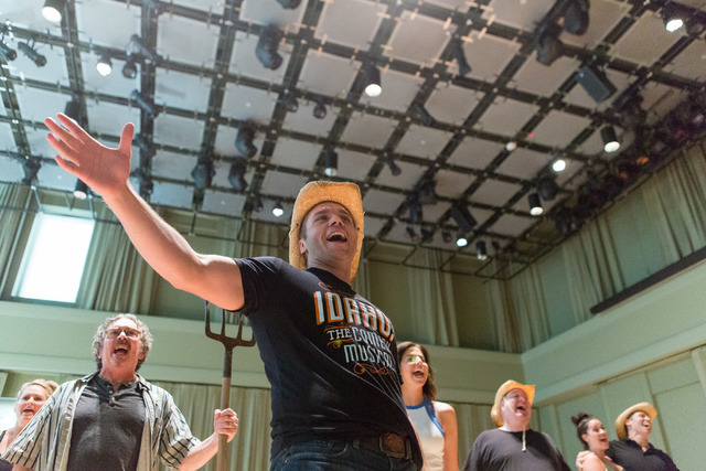 """Whip Masters (Nathaniel Hackmann), center, leads his fellow Idahoans in a number from """"Idaho! The Comedy Musical."""" The Broadway hopeful opens a 13-performance run Wednesday at The Smith Center. (E ..."""