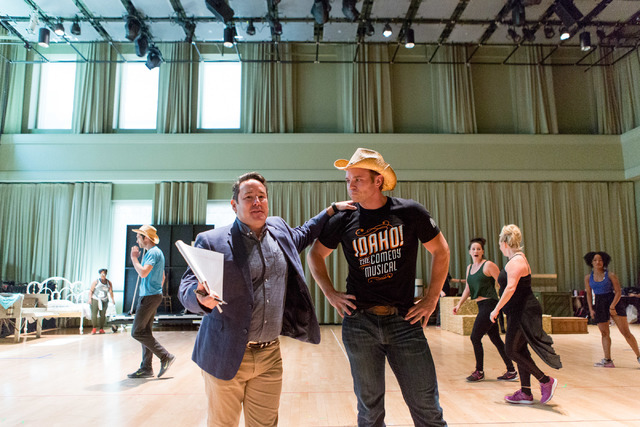 "Director Matt Lenz, left, joins ""Idaho!"" leading man Whip Masters (alias actor Nathaniel Hackmann) during a Smith Center preview of the comedy musical, which begins a 13-performance run Wednesday  ..."