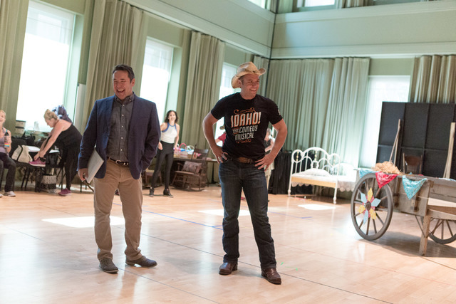 """Director Matt Lenz, left, and actor Nathaniel Hackmann join the laughter as writer and composer Buddy Sheffield discusses the long journey """"Idaho! The Comedy Musical"""" has taken to The Smith Center ..."""