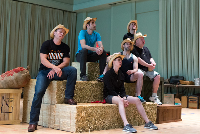 """Led by Whip Masters (Nathaniel Hackmann), left, the male denizens of """"Idaho! The Comedy Musical"""" lament that """"It's Lonely in the Barn"""" in a number from the Broadway hopeful, which opens Wednesday  ..."""