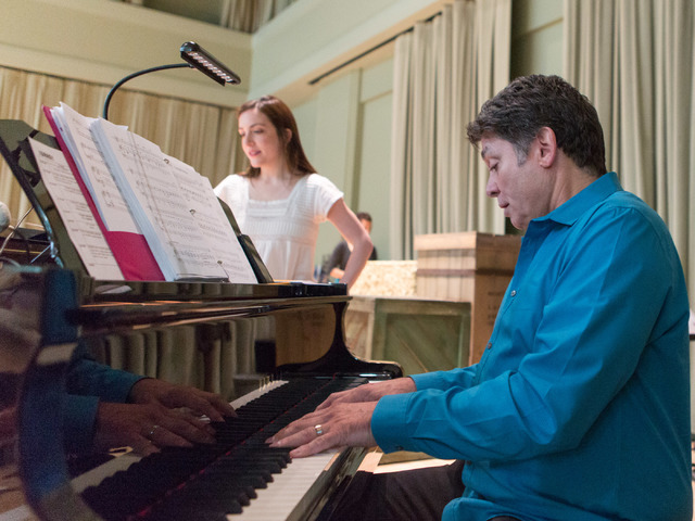 """Jessica Fontana, who plays Cassie Purdy in """"Idaho! The Comedy Musical,"""" joins co-composer and musical director Keith Thompson at the piano for a run-through of the ballad """"Instead."""" (Elizabeth Bru ..."""