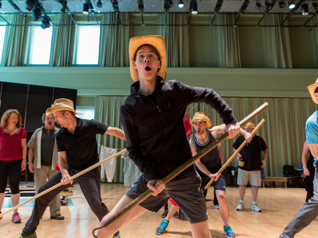 """Connor Russell, center, as Yank Daley, joins fellow cast members in a rendition of the title number for """"Idaho! The Comedy Musical,"""" which opens a 13-performance run Wednesday at The Smith Center. ..."""