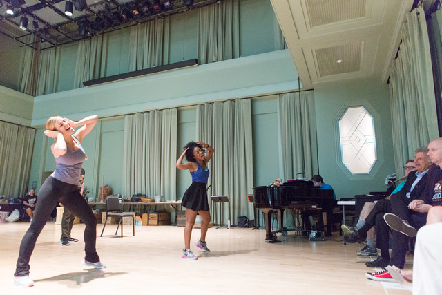 """""""Idaho! The Comedy Musical"""" cast members run through a number during a sneak preview of the Broadway hopeful, which begins performances at The Smith Center Wednesday. (Elizabeth Brumley/The Las Ve ..."""