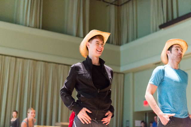 """Connor Russell, left, joins fellow cast members of """"Idaho! The Comedy Musical"""" during a preview of the Broadway hopeful, which begins a 13-performance run Wednesday in The Smith Center's Reynolds  ..."""