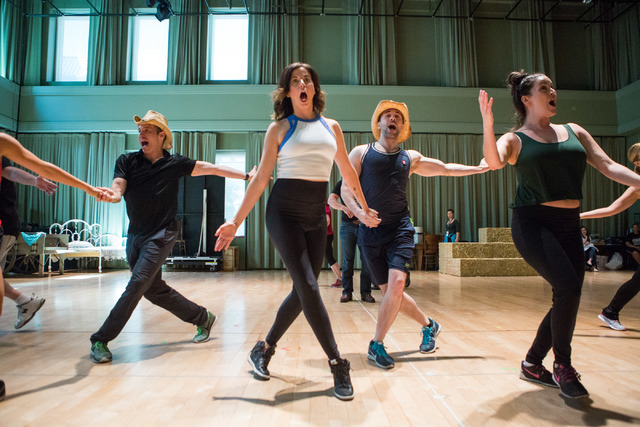 """The cast of """"Idaho! The Comedy Musical"""" performs one of the new show's numbers during a preview at The Smith Center, where the Broadway hopeful opens a 13-performance run Wednesday. (Elizabeth Bru ..."""