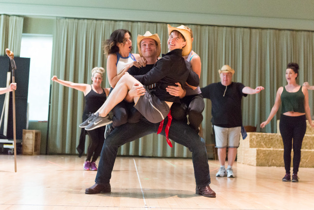 """Ida Dunham (Alex Ellis), Whip Masters (Nathaniel Hackmann) and Yank Daley (Connor Russell) get cozy in """"Idaho! The Comedy Musical,"""" which opens a 13-performance run Wednesday at The Smith Center.  ..."""