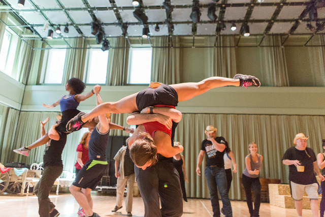 """""""Idaho! The Comedy Musical"""" cast members show off Michele Lynch's choreography during a run-through of the Broadway hopeful, which opens Wednesday at The Smith Center. (Elizabeth Brumley/The Las V ..."""