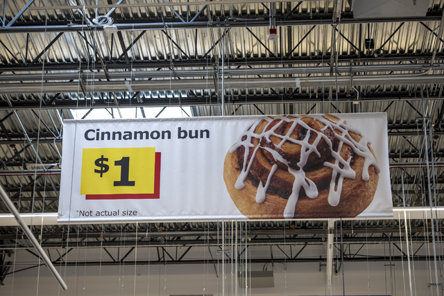 A cinnamon bun sign inside IKEA is shown on Wednesday, May 11, 2016. The new IKEA located near Durango and 215 opens on May 18th. Joshua Dahl/Las Vegas Review-Journal
