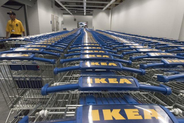 Shopping carts sit inside during the opening day event for IKEA in Las Vegas Wednesday, May 18, 2016. Security guard Daniel Kurtin walks in the background. Jason Ogulnik/Las Vegas Review-Journal