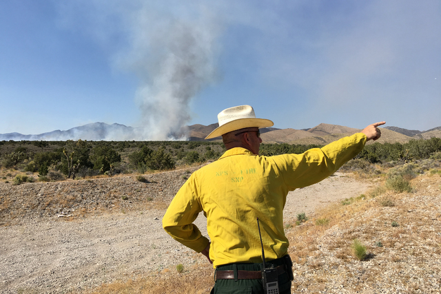 Ray Johnson, a fire prevention officer with the U.S. Forest Service (Benjamin Hager/Las Vegas Review-Journal @benjaminhphoto)