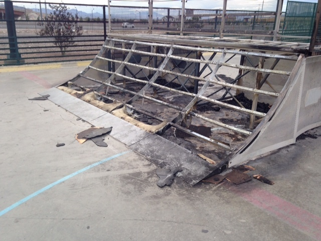 The front of the start ramp at Mountain Ridge Skate Park, 7151 Oso Blanca Road, is seen as a result of recent acts of vandalism. On April 25, Las Vegas city staff discovered that the start ramp an ...