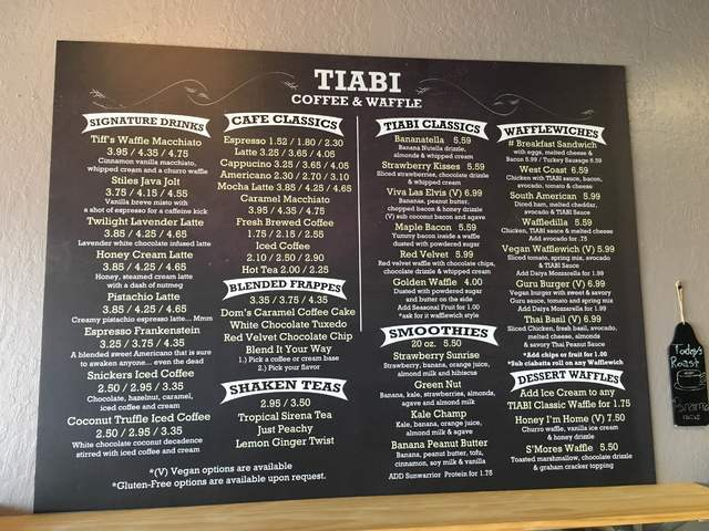 The menu at Tiabi Coffee & Waffle Bar, 3961 S. Maryland Parkway, is seen. Sandy Lopez/View