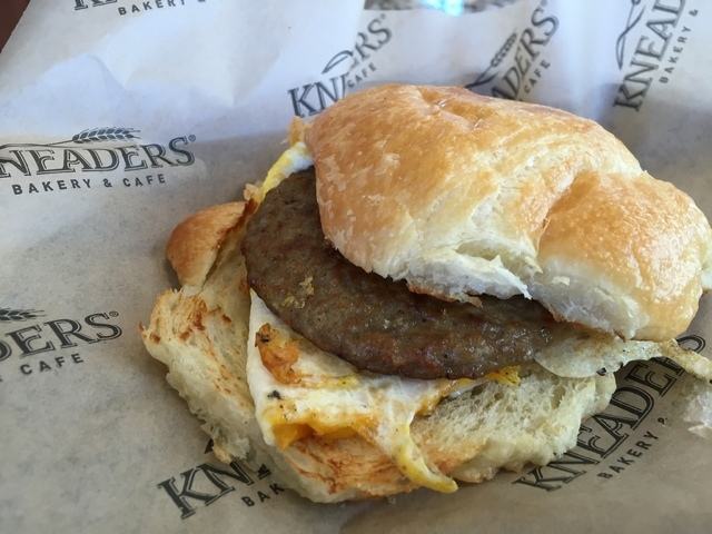 A sausage, cheese and egg breakfast sandwich is shown at Kneaders Bakery & Cafe in Henderson. Michael Lyle/View