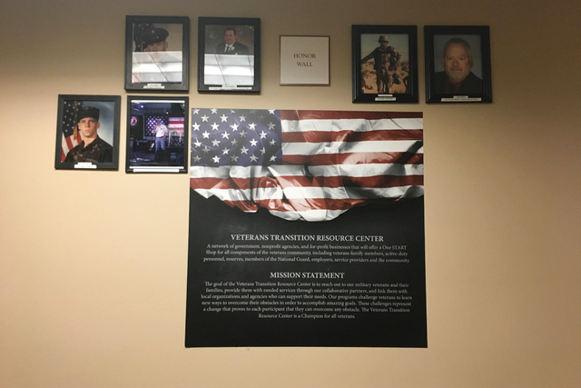 An honor wall is on display June 14, 2016, at the Veterans Transition Resource Center, 2550 Nature Park Drive, Suite 200, in North Las Vegas. The center is made up of a network of government, nonp ...