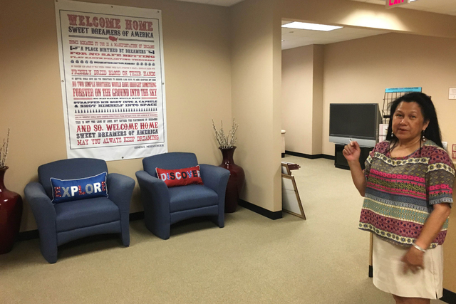 Eva Secchiari, executive director of the Veterans Transition Resource Center, 2550 Nature Park Drive, Suite 200, in North Las Vegas, gives a tour June 14, 2016, of the center that is set to offer  ...