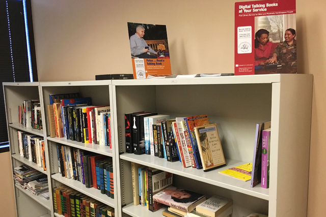 A library is seen June 14, 2016, at the Veterans Transition Resource Center, 2550 Nature Park Drive, Suite 200, in North Las Vegas. The center is made up of a network of government, nonprofit agen ...