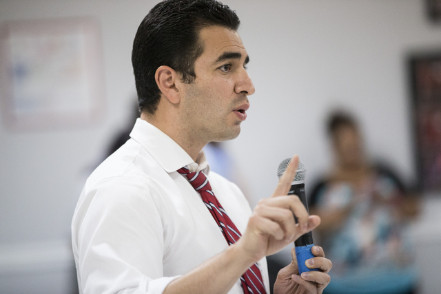 Democratic nominee for the 4th Congressional District Ruben Kihuen, speaks during a press conference on immigration at the Culinary Workers Union Local 226 headquarters on Thursday, June 23, 2016, ...