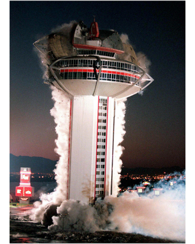 The tower of the Landmark hotel-casino comes crashing down during a planned implosion of the iconic Las Vegas Strip property on November 7, 1995. (Clint Karlsen/Las Vegas Review-Journal)