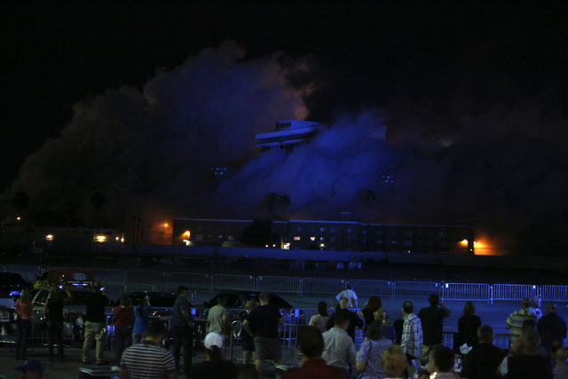 The 24-story Monaco tower at the Riviera hotel-casino is imploded on the Las Vegas Strip on Tuesday, June 14, 2016, to pave the way for expansion of the Las Vegas Convention Center. Loren Townsley ...