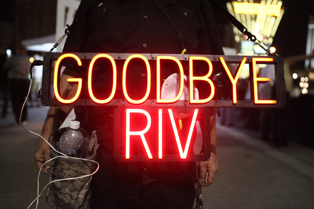 John Mendonca says goodbye to the Monaco tower at the Riviera hotel-casino on the Las Vegas Strip on Tuesday, June 14, 2016. The 24-story tower is the first of two to be imploded at the site to ma ...