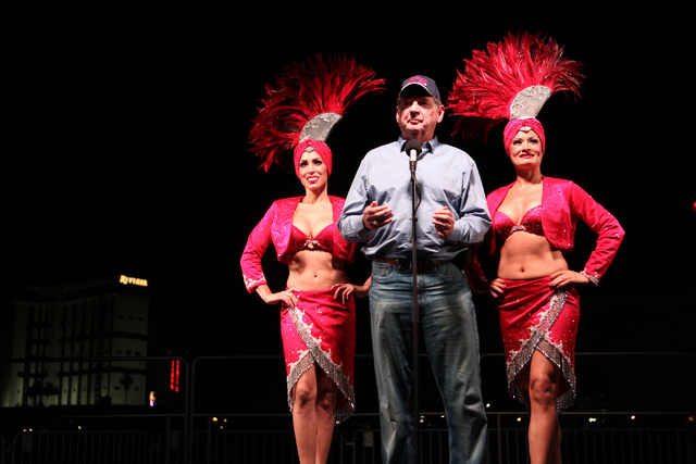 Former Nevada Gov. Bob Miller speaks before the implosion of the Monaco tower at the Riviera hotel-casino on the Las Vegas Strip on Tuesday, June 14, 2016. The 24-story tower is the first of the t ...