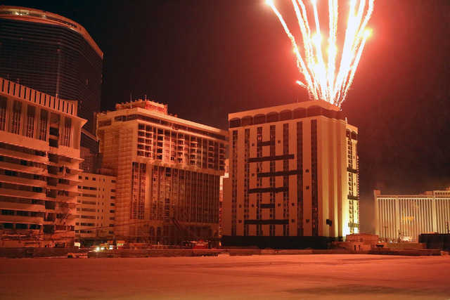 Fireworks blast from the top of the Monaco tower at the shuttered Riviera shortly before it was imploded on Tuesday, June 14, 2016.  Jeff Scheid/Las Vegas Review-Journal Follow @jlscheid