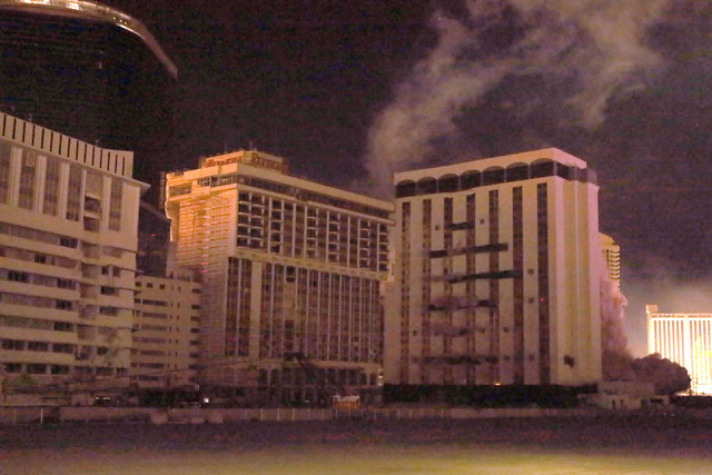 1 of  4- Explosive charges go off in the Monaco tower at the shuttered Riviera during a controlled implosion on Tuesday, June 14, 2016.  Jeff Scheid/Las Vegas Review-Journal Follow @jlscheid
