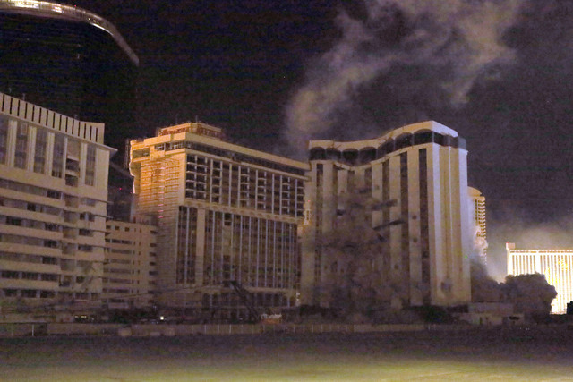 2 of 4-The Monaco tower at the shuttered Riviera comes crashing down in a controlled implosion on Tuesday, June 14, 2016.  Jeff Scheid/Las Vegas Review-Journal Follow @jlscheid