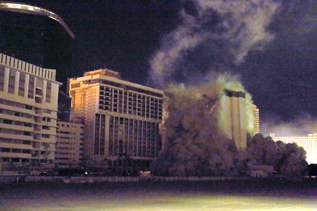 The Monaco tower at the shuttered Riviera comes crashing down in a controlled implosion on Tuesday, June 14, 2016.  Jeff Scheid/Las Vegas Review-Journal Follow @jlscheid