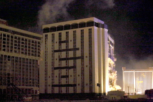 1 of 3-The Monaco tower at the shuttered Riviera comes crashing down in a controlled implosion on Tuesday, June 14, 2016.  Jeff Scheid/Las Vegas Review-Journal Follow @jlscheid