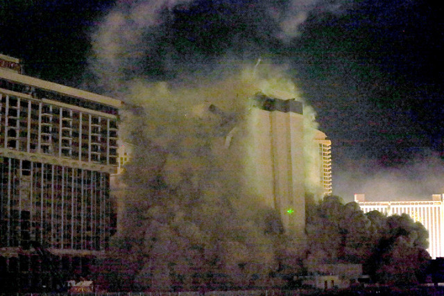 2 of 3-The Monaco tower at the shuttered Riviera comes crashing down in a controlled implosion on Tuesday, June 14, 2016.  Jeff Scheid/Las Vegas Review-Journal Follow @jlscheid