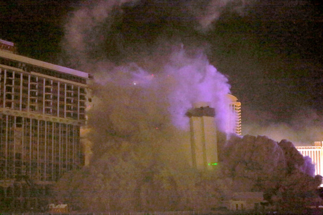 3 of 3-The Monaco tower at the shuttered Riviera comes crashing down in a controlled implosion on Tuesday, June 14, 2016.  Jeff Scheid/Las Vegas Review-Journal Follow @jlscheid