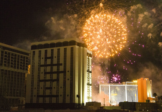 Fireworks blast near the Monaco tower at the shuttered Riviera shortly before it was imploded on Tuesday, June 14, 2016.  Jeff Scheid/Las Vegas Review-Journal Follow @jlscheid