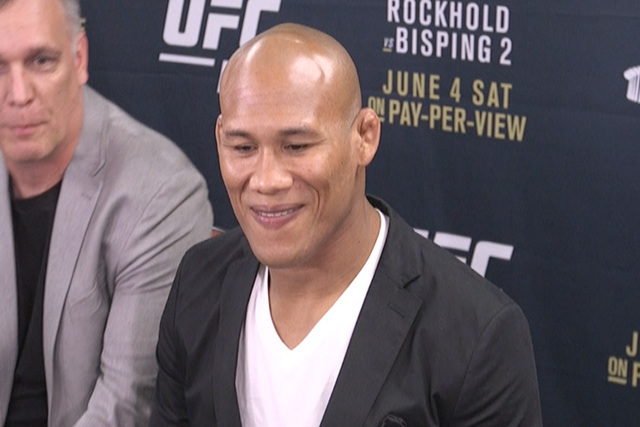 """Ronaldo """"Jacare"""" Souza told media at UFC 199 that he's coming to take the middleweight title. (Heidi Fang/Las Vegas Review-Journal)"""