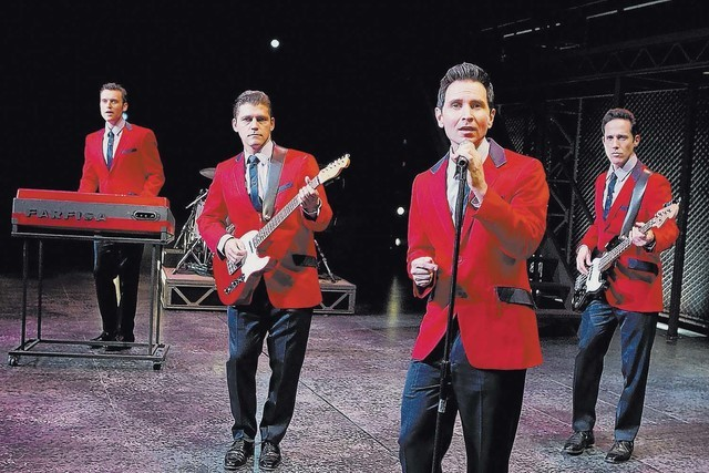 "Rob Marnell, from left, Deven May, Travis Cloer and Jeff Leibow perform as the ""Jersey Boys"" at Paris Las Vegas. The long-running show is closing in September. (Joan Marcus)"