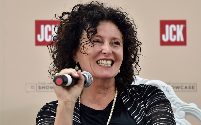 Costume designer Lyn Paolo speaks  during a panel discussion at the JCK Las Vegas jewelry industry show at the Mandalay Bay Convention Center Friday, June 3, 2016, in Las Vegas. David Becker/Las V ...
