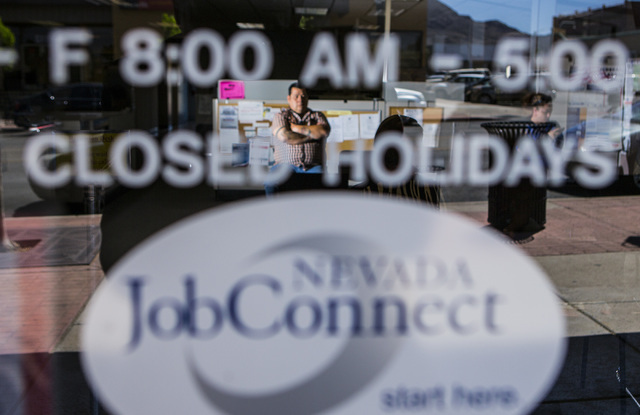 Thomas Standingbear waits to be called for assistances at Nevada JobConnect, 119 S. Water Street in Henderson, Nev. on Wednesday, April 15, 2015. (Jeff Scheid/Las Vegas Review-Journal) Follow Jeff ...