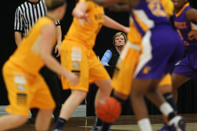 NCAA women's basketball coaching legend Pat Summit watches the action as Marquette takes on Tennessee Tech at the South Point Arena in Las Vegas on Friday, Nov. 29, 2013. (Chase Stevens/Las Vegas  ...