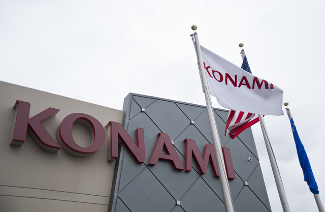 Signage adorns the exterior of Konami Gaming headquarters in Las Vegas on Tuesday, May 17, 2016. Daniel Clark/Las Vegas Review-Journal Follow @DanJClarkPhoto