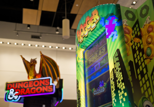 A brand new Frogger branded slot machine is seen inside the showroom at the headquarters of Konami Gaming in Las Vegas on Tuesday, May 17, 2016. Daniel Clark/Las Vegas Review-Journal Follow @DanJC ...