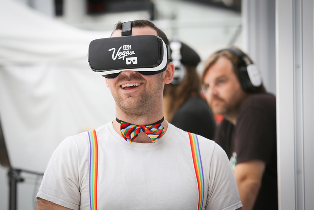 Jeff Della Serra, a 24-year-old from Los Angeles, takes a virtual reality tour of Las Vegas at the Los Angeles Pride Festival on Saturday, June 11, 2016. Brett Le Blanc/Las Vegas Review-Journal Fo ...