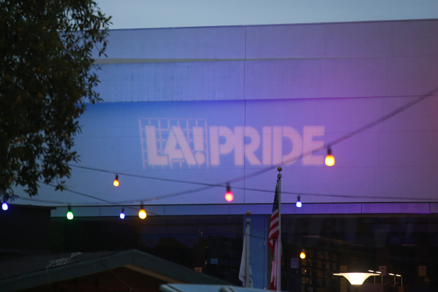 An LA! PRIDE logo is projected onto a building at the Los Angeles Pride Festival on Saturday, June 11, 2016. Brett Le Blanc/Las Vegas Review-Journal Follow @bleblancphoto