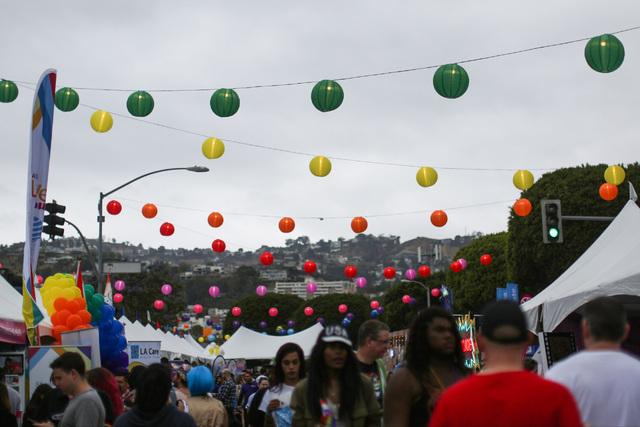 Colored lantern hang above the Los Angeles Pride Festival on Saturday, June 11, 2016. Brett Le Blanc/Las Vegas Review-Journal Follow @bleblancphoto
